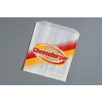 "Printed Grease Proof Cheeseburger Bags, 6 x 3/4 x 6 1/2"" - 6 PK"