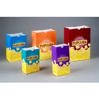 "Yellow Printed Popcorn Bags, 5 1/2 x 3 1/4 x 8 1/2"""