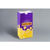 "Yellow Printed Popcorn Bags, 4 1/4 x 2 1/2 x 8 1/4"""