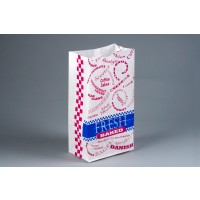 """Bakery Bags, Printed - Fresh Baked - Red and Blue, Waxed, 5 x 3 1/8 x 9 3/4"""""""