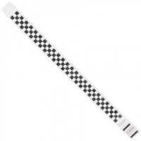 Black Checkerboard Tyvek® Wristbands, 3/4 x 10""