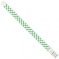 Green Checkerboard Tyvek® Wristbands, 3/4 x 10""