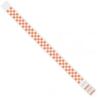 Orange Checkerboard Tyvek® Wristbands, 3/4 x 10""