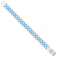 Blue Checkerboard Tyvek® Wristbands, 3/4 x 10""