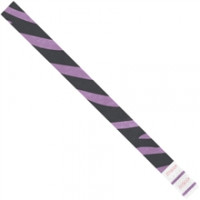 Purple Zebra Stripe Tyvek® Wristbands, 3/4 x 10""