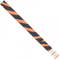 Orange Zebra Stripe Tyvek® Wristbands, 3/4 x 10""