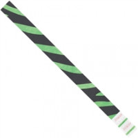 Green Zebra Stripe Tyvek® Wristbands, 3/4 x 10""