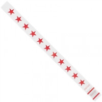 Red Stars Tyvek® Wristbands, 3/4 x 10""