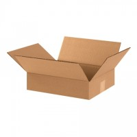 "Corrugated Boxes, 12 x 10 x 3"", Kraft, Flat"