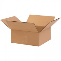 "Corrugated Boxes, 10 x 10 x 4"", Kraft, Flat"