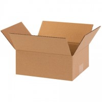 "Corrugated Boxes, 10 x 8 x 4"", Kraft, Flat"