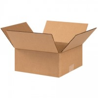 "Corrugated Boxes, 9 x 9 x 4"", Kraft, Flat"