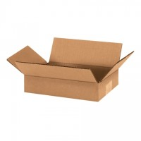 "Corrugated Boxes, 9 x 6 x 2"", Kraft, Flat"