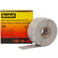 """3M 70 Rubber Silicone Electrical Tape, 1"""" x 30', Gray"""