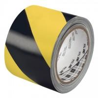 "3M 766 Black/Yellow Striped Vinyl Tape, 3"" x 36 yds., 5 Mil Thick"