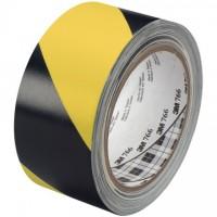 "3M 766 Black/Yellow Striped Vinyl Tape, 2"" x 36 yds., 5 Mil Thick"