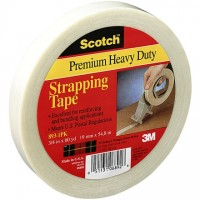 "3M 893 Clear Strapping Tape, 1/2"" x 60 yds., 6.0 Mil Thick"
