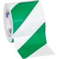"Green/White Striped Vinyl Tape, 4"" x 36 yds., 7 Mil Thick"