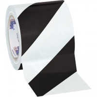"Black/White Striped Vinyl Tape, 4"" x 36 yds., 7 Mil Thick"
