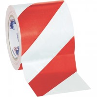"""Red/White Striped Vinyl Tape, 4"""" x 36 yds., 7 Mil Thick"""