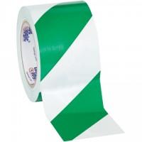 "Green/White Striped Vinyl Tape, 3"" x 36 yds., 7 Mil Thick"