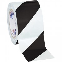 "Black/White Striped Vinyl Tape, 3"" x 36 yds., 7 Mil Thick"