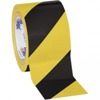 "Black/Yellow Striped Vinyl Tape, 3"" x 36 yds., 7 Mil Thick"