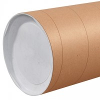 "Mailing Tubes with Caps, Jumbo, Round, Kraft, 10 x 36"", .125"" thick"