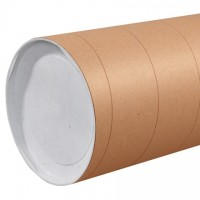 "Mailing Tubes with Caps, Jumbo, Round, Kraft, 8 x 60"", .125"" thick"