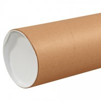 "Mailing Tubes with Caps, Jumbo, Round, Kraft, 6 x 48"", .125"" thick"
