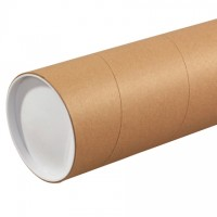 "Mailing Tubes with Caps, Jumbo, Round, Kraft, 5 x 48"", .125"" thick"