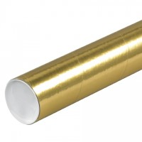 "Mailing Tubes with Caps, Round, Gold, 3 x 24"", .070"" thick"