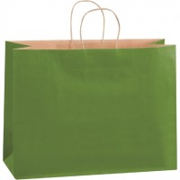 Green Tinted Paper Shopping Bags, Vogue - 16 x 6 x 12""