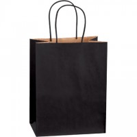 Black Tinted Paper Shopping Bags, Cub - 8 x 4 1/2 x 10 1/4""