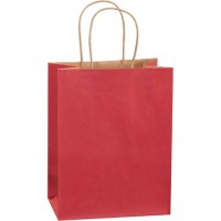 Scarlet Tinted Paper Shopping Bags, Cub - 8 x 4 1/2 x 10 1/4""