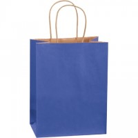 Parade Blue Tinted Paper Shopping Bags, Cub - 8 x 4 1/2 x 10 1/4""