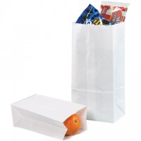 """White Paper Grocery Bags, #16 - 7 3/4 x 4 3/4 x 16"""""""