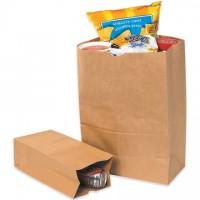 "Kraft Paper Grocery Bags, #20 SH - 8 1/4 x 5 15/16 x 13 3/8"""