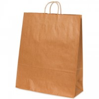 Kraft Paper Shopping Bags, Queen - 16 x 6 x 19 1/4""