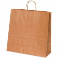 Kraft Paper Shopping Bags, Debonair - 16 x 6 x 15 3/4""