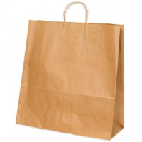 Kraft Paper Shopping Bags, Traveler - 13 x 6 x 15 3/4""