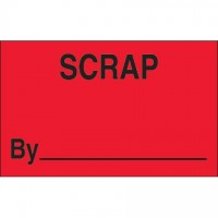 "Fluorescent Red ""Scrap By"" Production Labels, 1 1/4 x 2"""