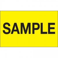 "Fluorescent Yellow ""Sample"" Production Labels, 1 1/4 x 2"""