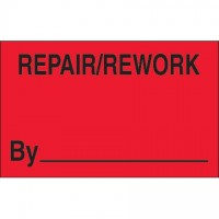 "Fluorescent Red ""Repair/Rework By"" Production Labels, 1 1/4 x 2"""