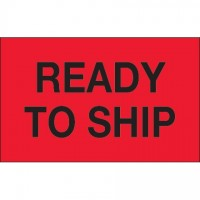 "Fluorescent Red ""Ready To Ship"" Production Labels, 1 1/4 x 2"""