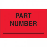 "Fluorescent Red ""Part Number"" Production Labels, 1 1/4 x 2"""