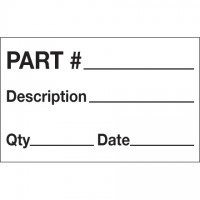 "White ""Part # - Description - Qty - Date"" Production Labels, 1 1/4 x 2"""