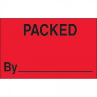"Fluorescent Red ""Packed By"" Production Labels, 1 1/4 x 2"""