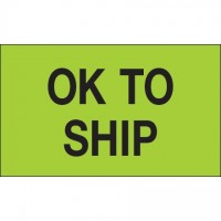 "Fluorescent Green ""OK To Ship"" Production Labels, 3 x 5"""