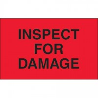"Fluorescent Red ""Inspect For Damage"" Production Labels, 1 1/4 x 2"""